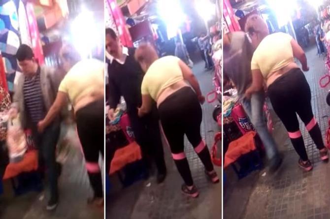 #LadyPenes acosa a hombres en mercado ¡apachurrándoles su intimidad! (+VIDEO)